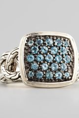 John Hardy Classic Chain Small Cushion Woven Ring Blue Topaz - Lyst