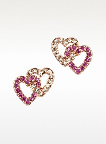 Juicy Couture Pave Double Heart Stud Earrings - Lyst