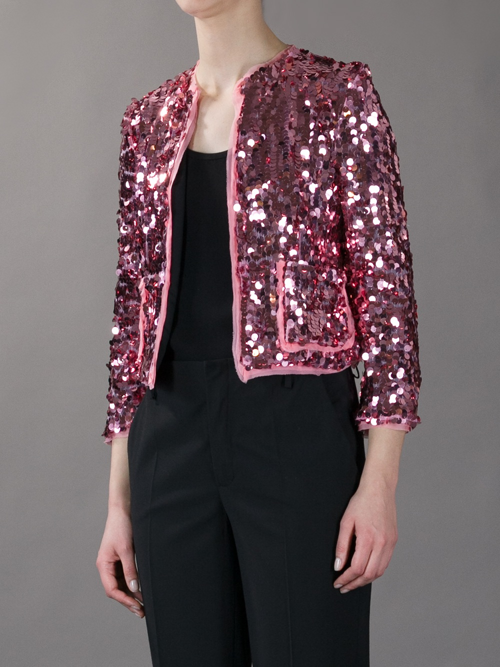 Marco Bologna Cropped Sequin Jacket In Pink Lyst