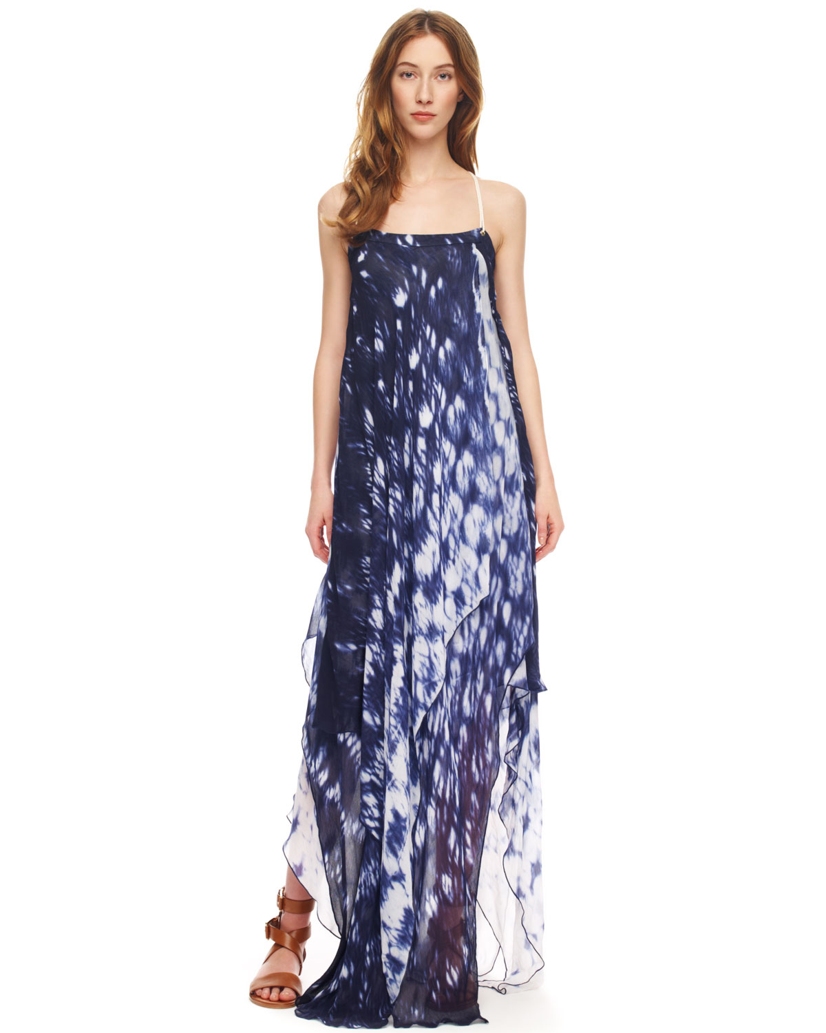 Lyst Michael kors Printed Layered Maxi Dress in White
