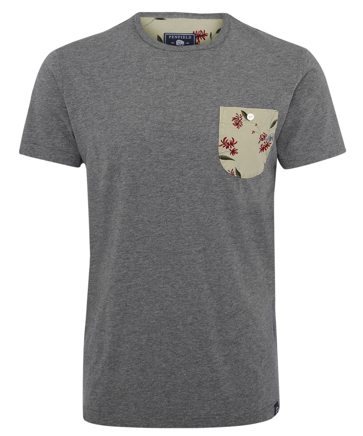 Penfield grey roseland floral print pocket t shirt in gray for Pocket t shirt printing