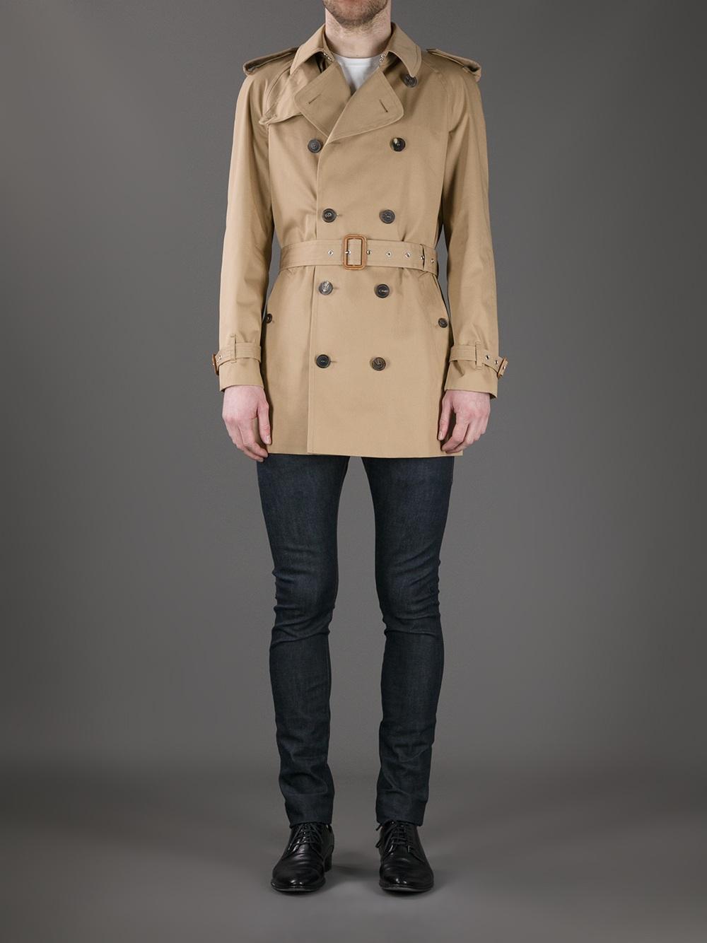 Saint laurent Short Trench Coat in Brown for Men | Lyst