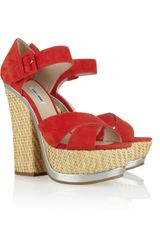 Miu Miu Suede and Straw Platform Sandals - Lyst