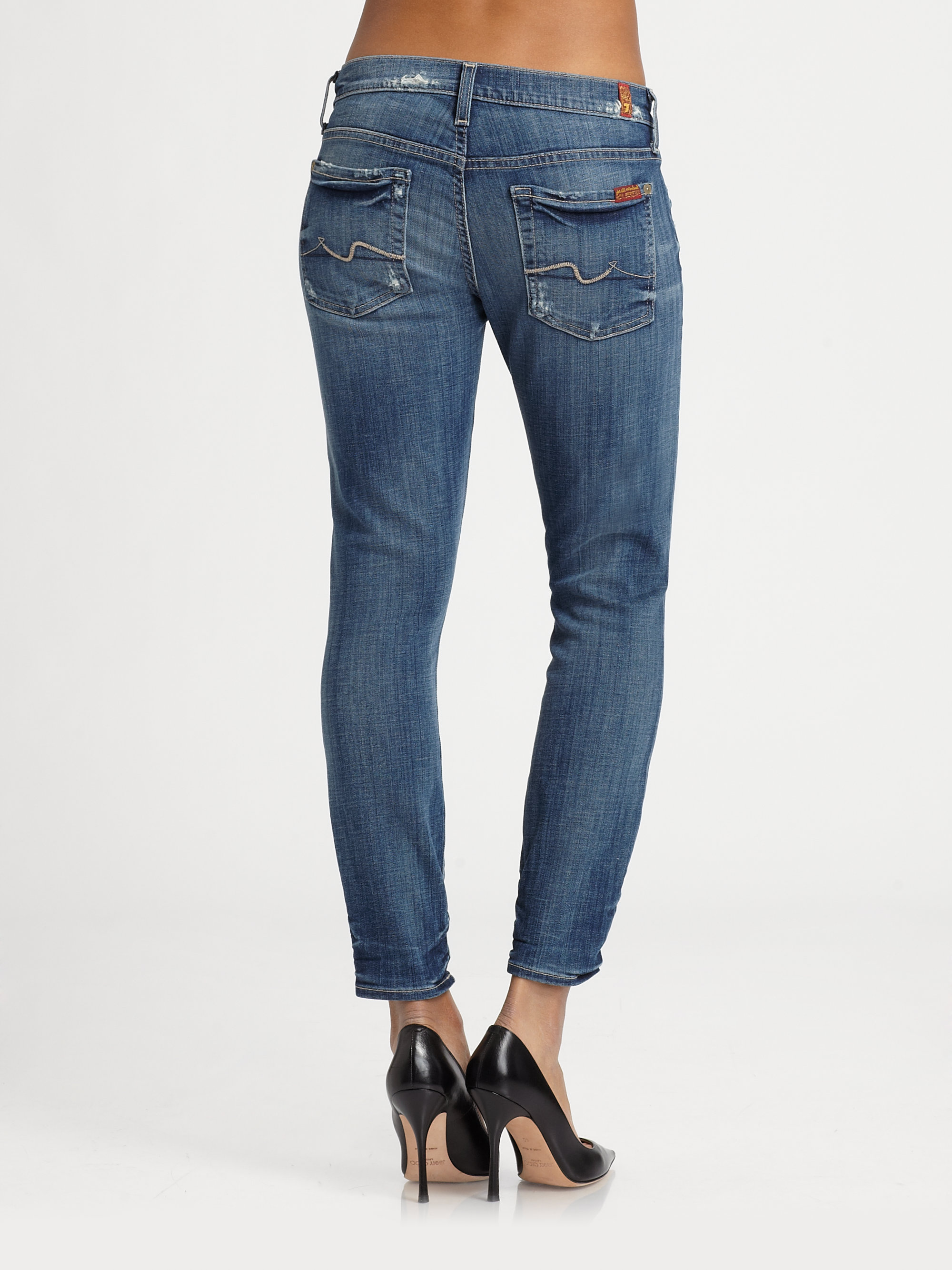 7 for all mankind gwenevere crop jeans in blue lyst. Black Bedroom Furniture Sets. Home Design Ideas