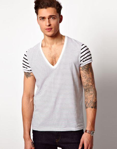 Asos Asos Stripe Tshirt With Deep V Neck In White For Men