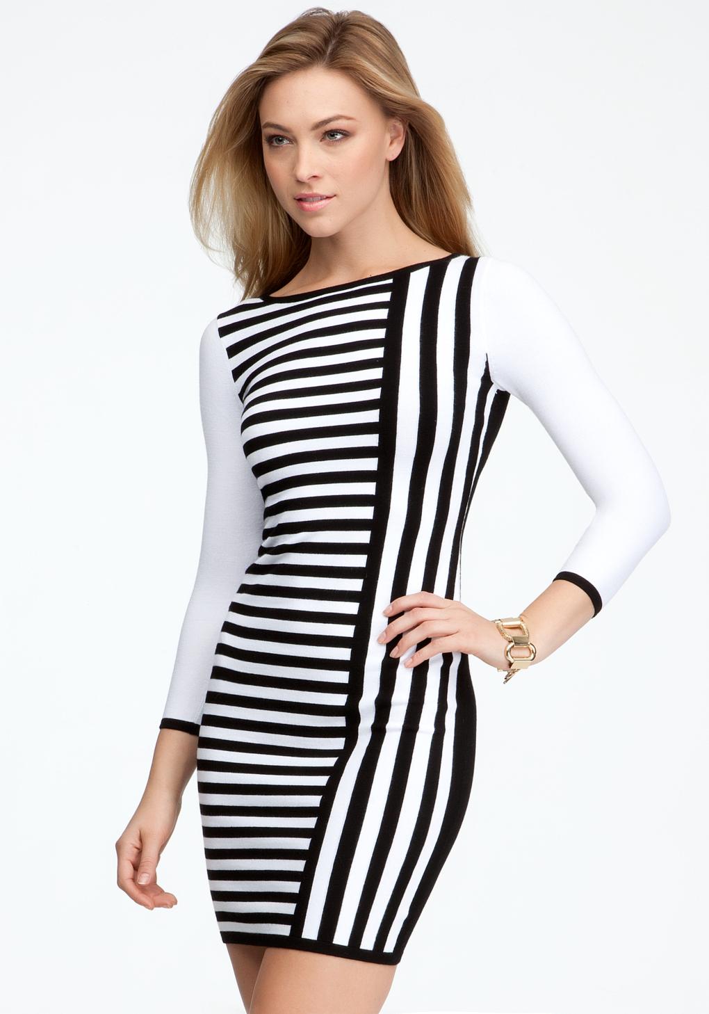 9252c00c66 Bebe Contrast Stripe Sweater Dress in White - Lyst