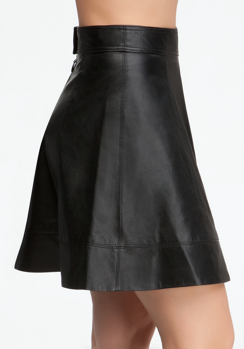 bebe leather circle skirt in black lyst