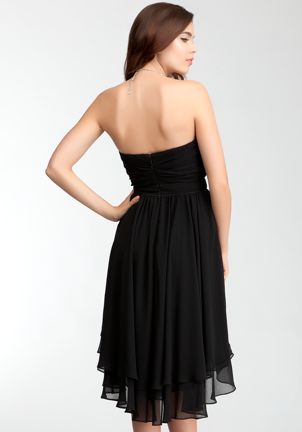 Bebe pleated strapless layer skirt dress rami kashou in black lyst gallery ombrellifo Images