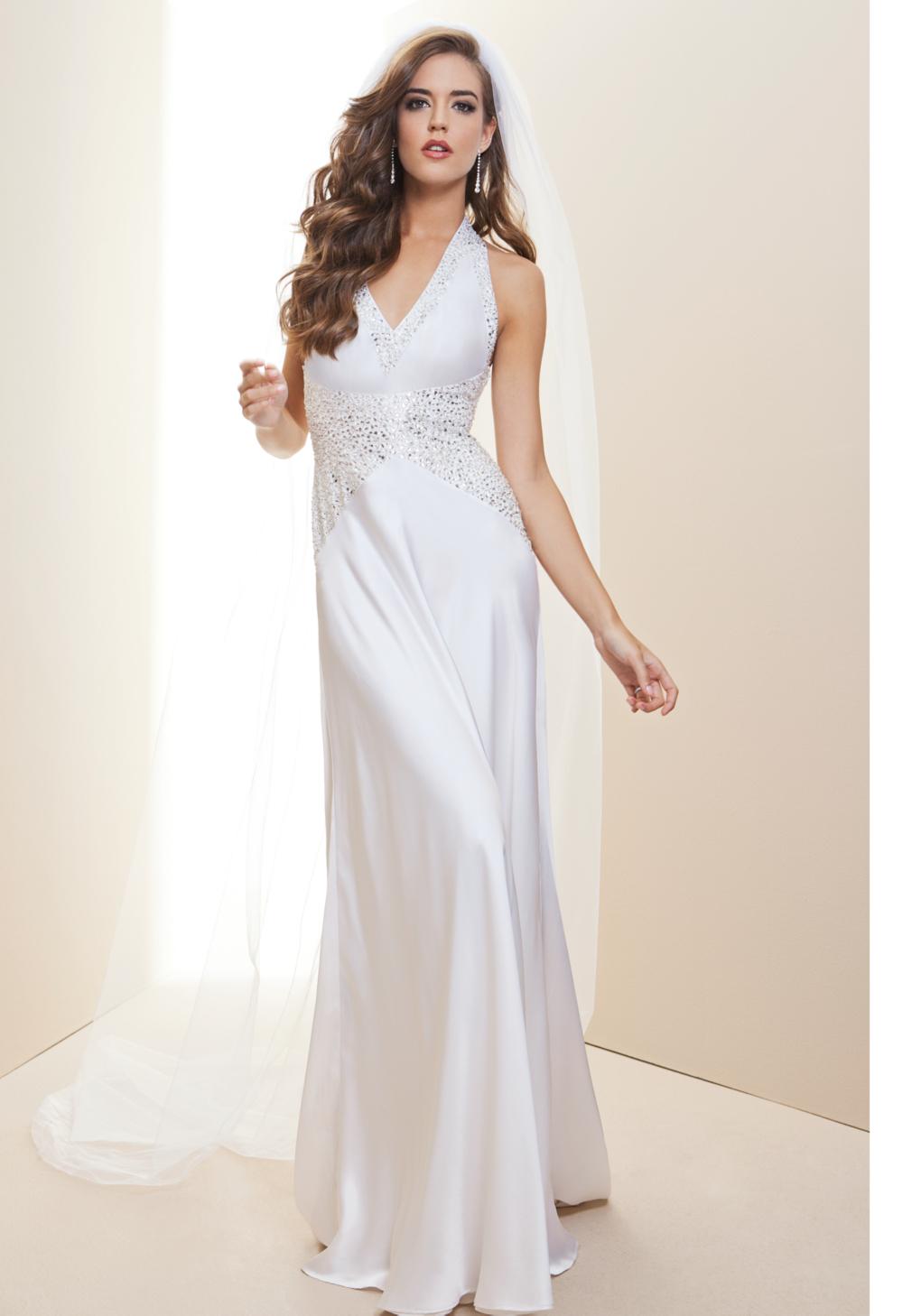Lyst - Bebe Embellished Halter Charm Bridal Gown Rami Kashou in White