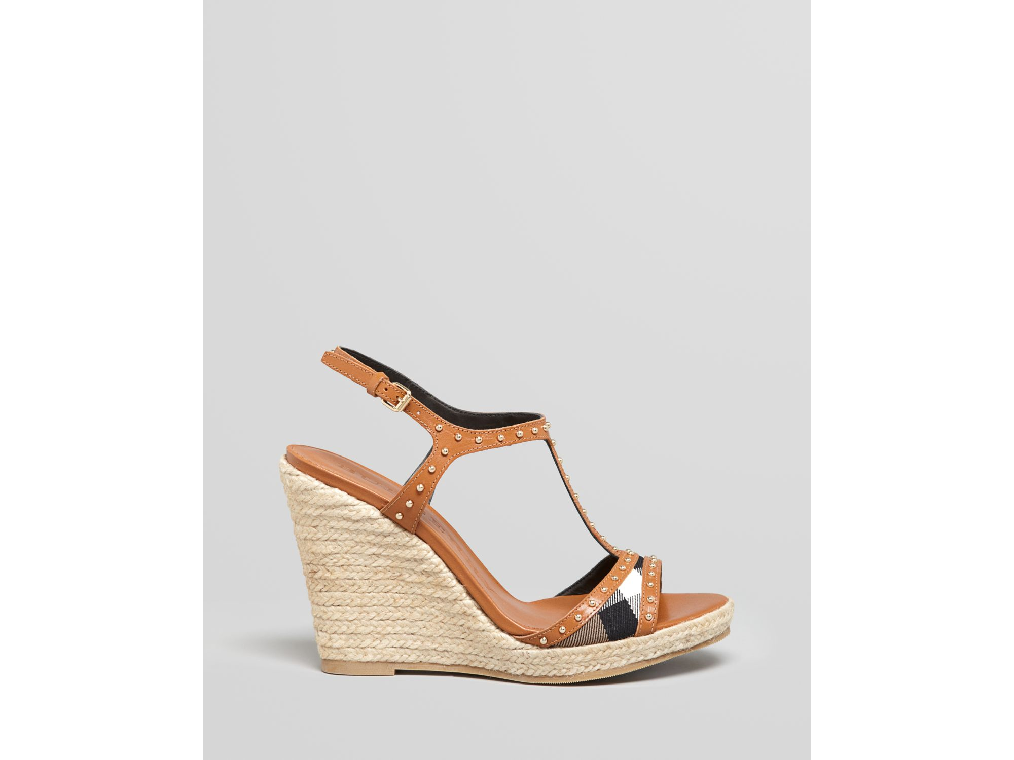 burberry platform wedge sandals in brown lyst
