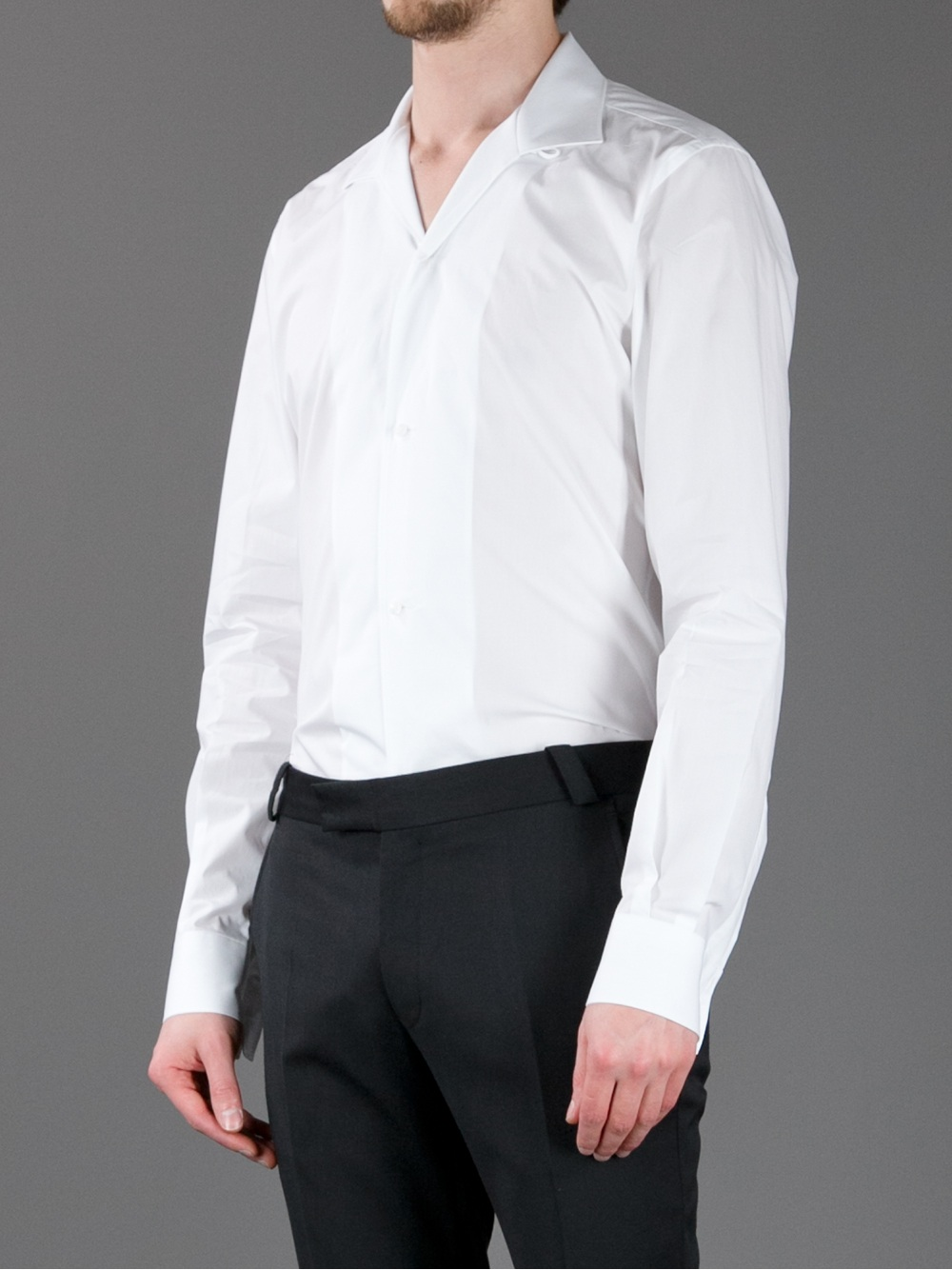 Lyst - Dolce & gabbana Open Collar Shirt in White for Men