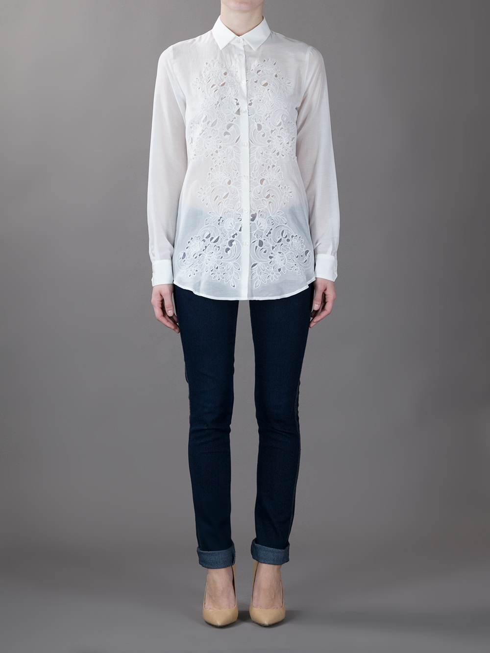 Lyst Etro Laser Cut Embroidered Front Shirt In White