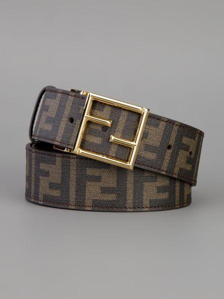 fendi zucca reversible belt in brown for tobacco lyst