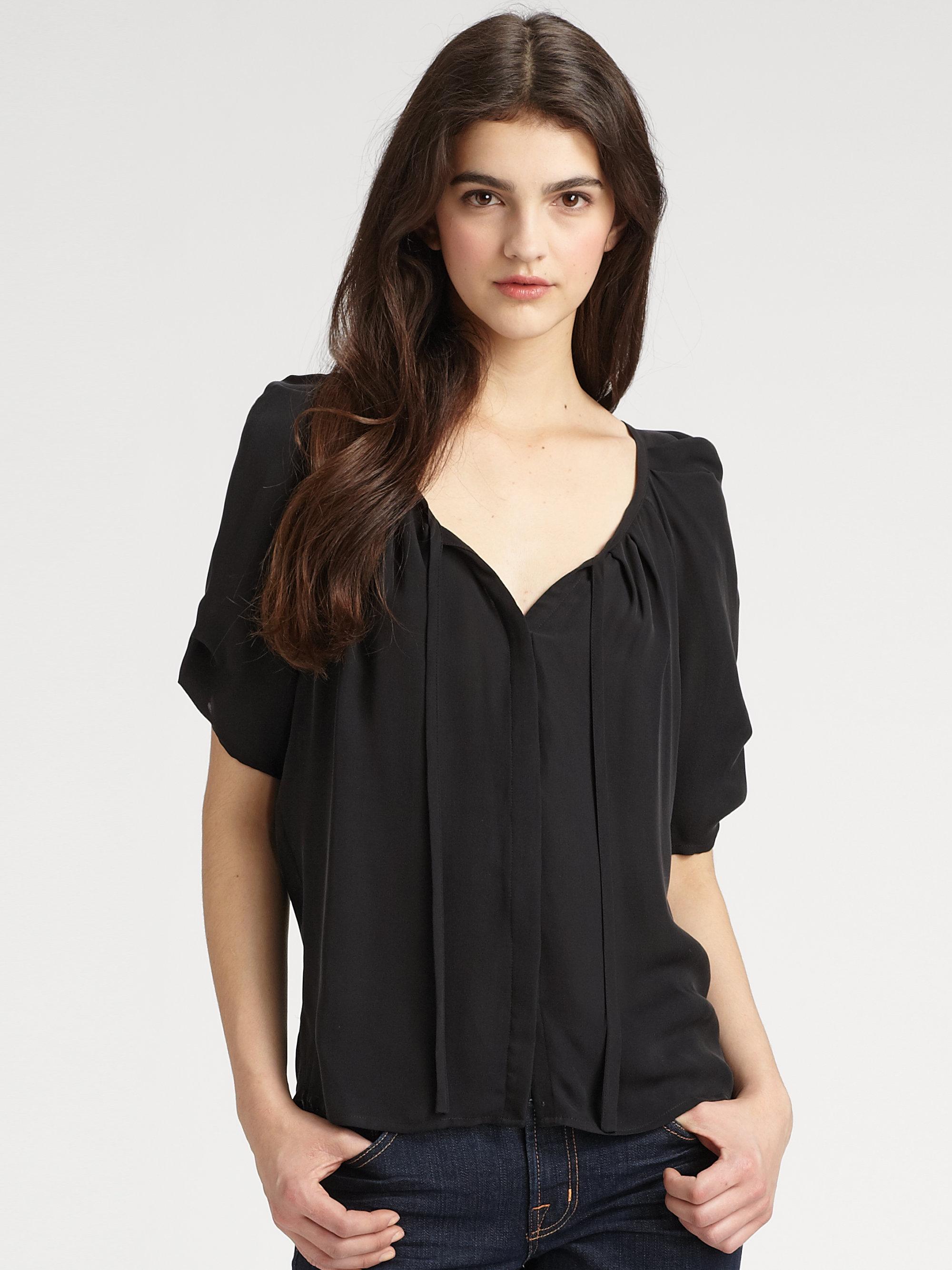 59f1659dbfea8 Lyst - Joie Berkeley Pleated Matte Silk Top in Black