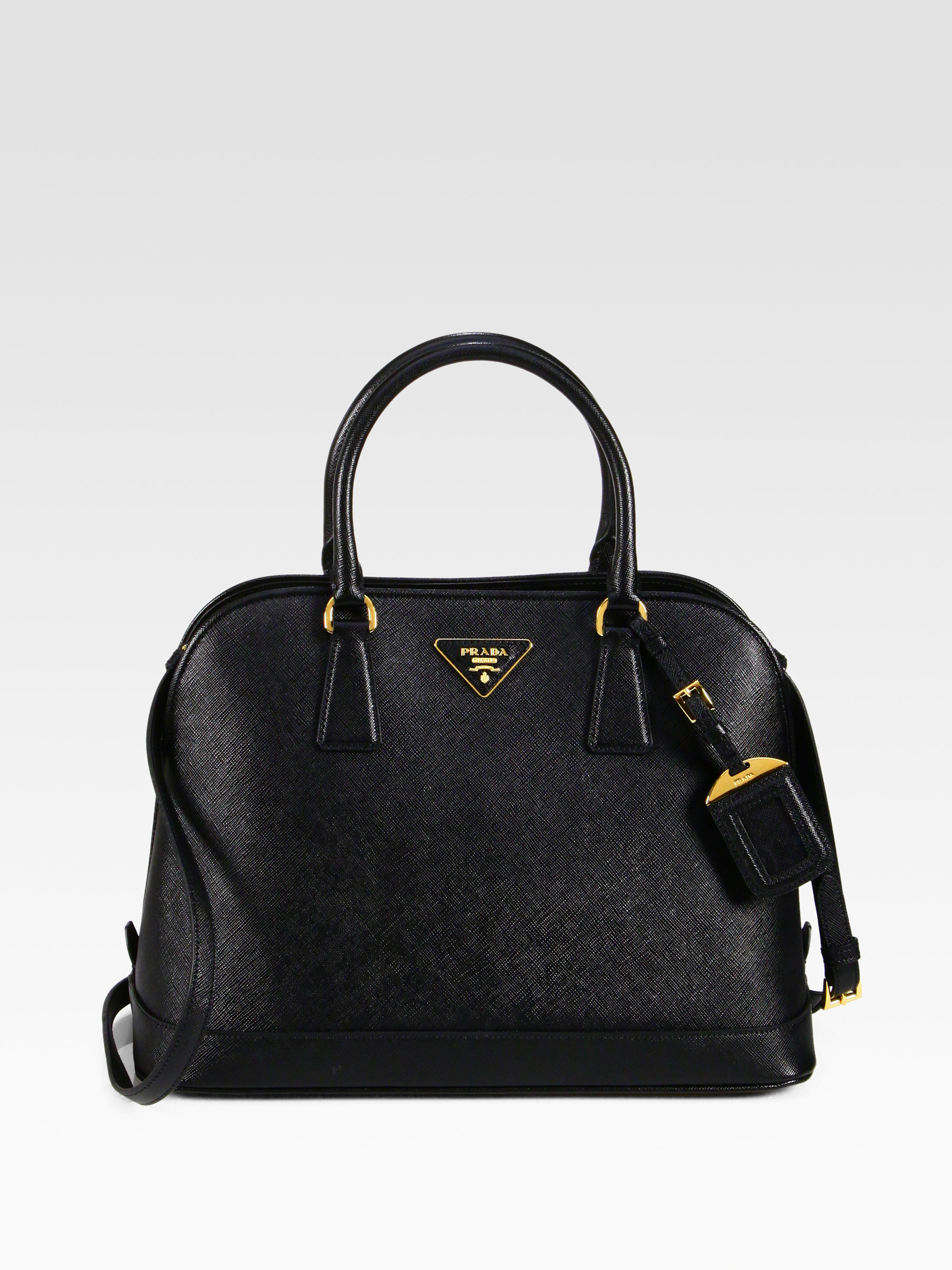 3c1b3506af3f58 ... 50% off lyst prada saffiano promenade open top handle bag in black  b664d 4a331