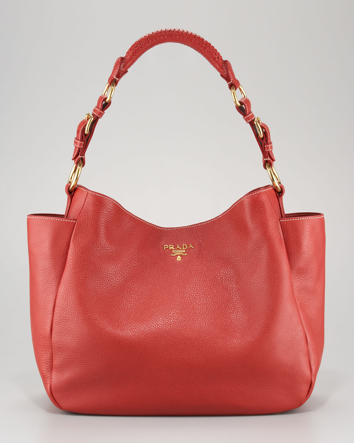 Prada Vitello Daino Pocket Hobo Bag in Red (rosso) | Lyst
