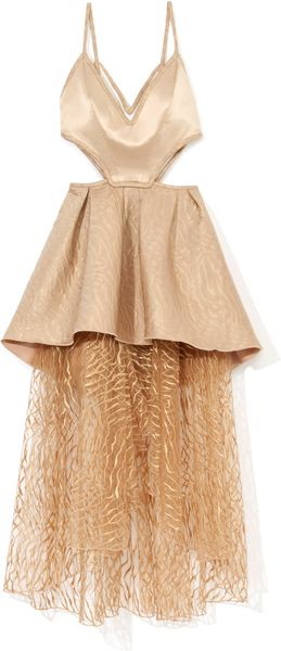 Rodarte Nude Tiered Harness Cocktail Dress - Lyst