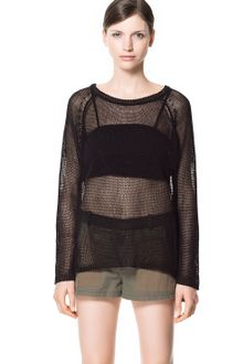 Zara Combination Open Work Sweater - Lyst