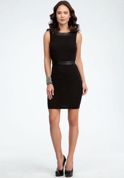 Bebe Drape Back Leather Contrast Dress In Black Blk Lyst