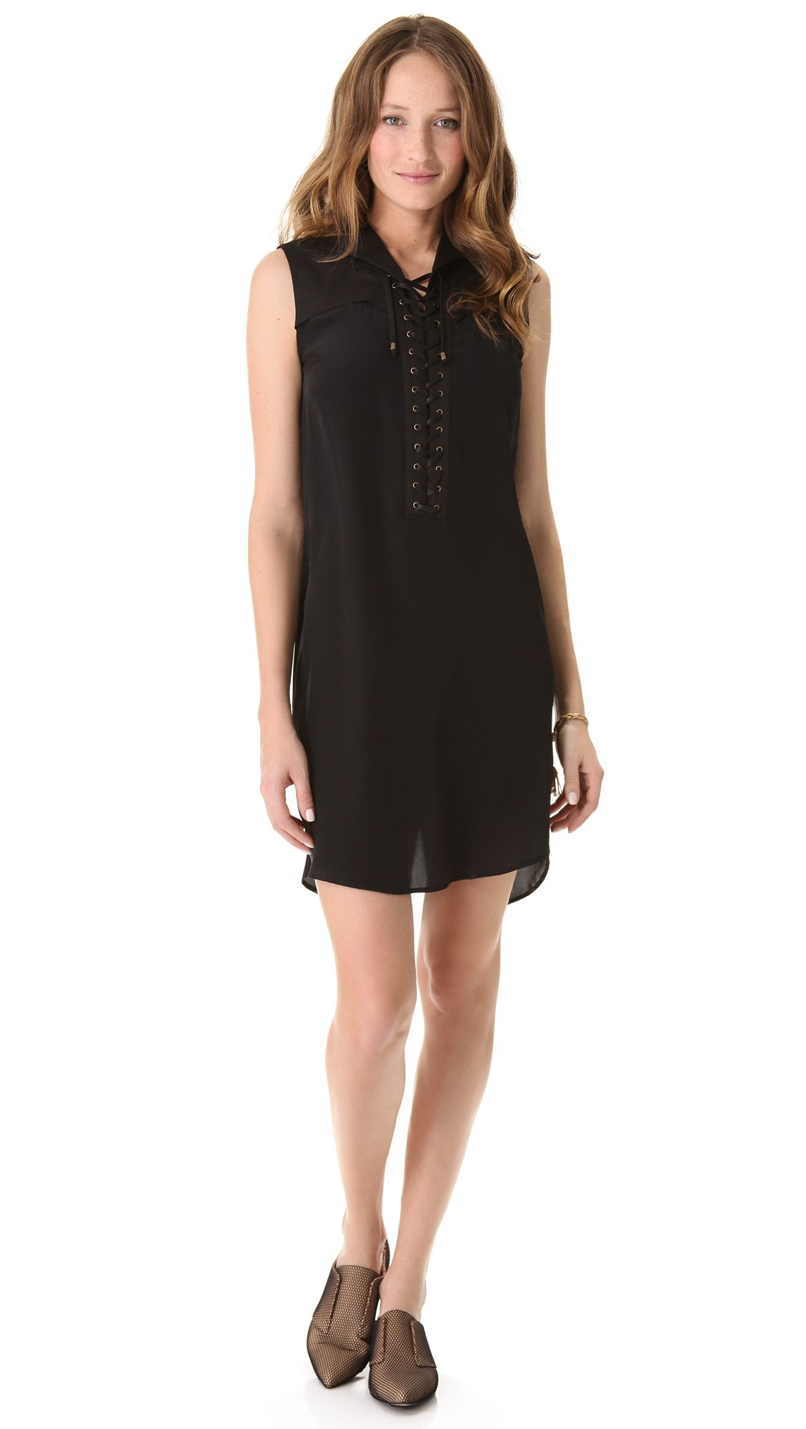 10 crosby derek lam lace up sleeveless dress in black lyst for Derek lam 10 crosby shirt dress