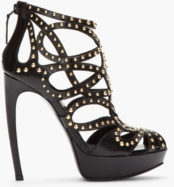 Alexander McQueen Black Leather Goldstudded Cage Heels - Lyst