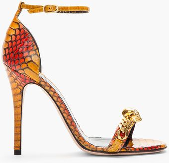 Alexander McQueen Burnt Yellow Red Cobraskin Heeled Sandals - Lyst