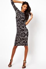 ASOS Collection Asos Midi Bodycon Dress in Baroque Print - Lyst