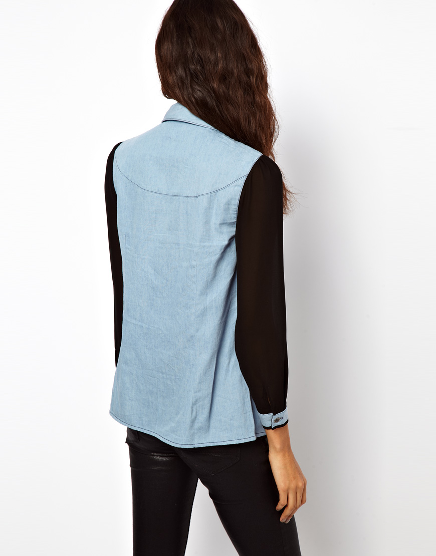 Exclusive Denim Adidas Top Ten 2000 Swaggy P Pes For: Asos Exclusive Denim Shirt With Sheer Panels And