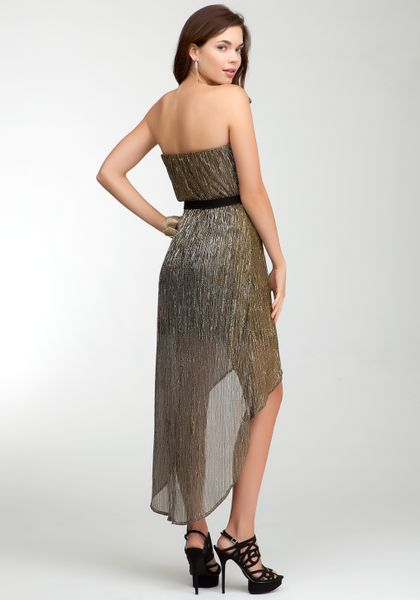 Bebe Metallic Strapless Dress In Gold Black Gold Copper