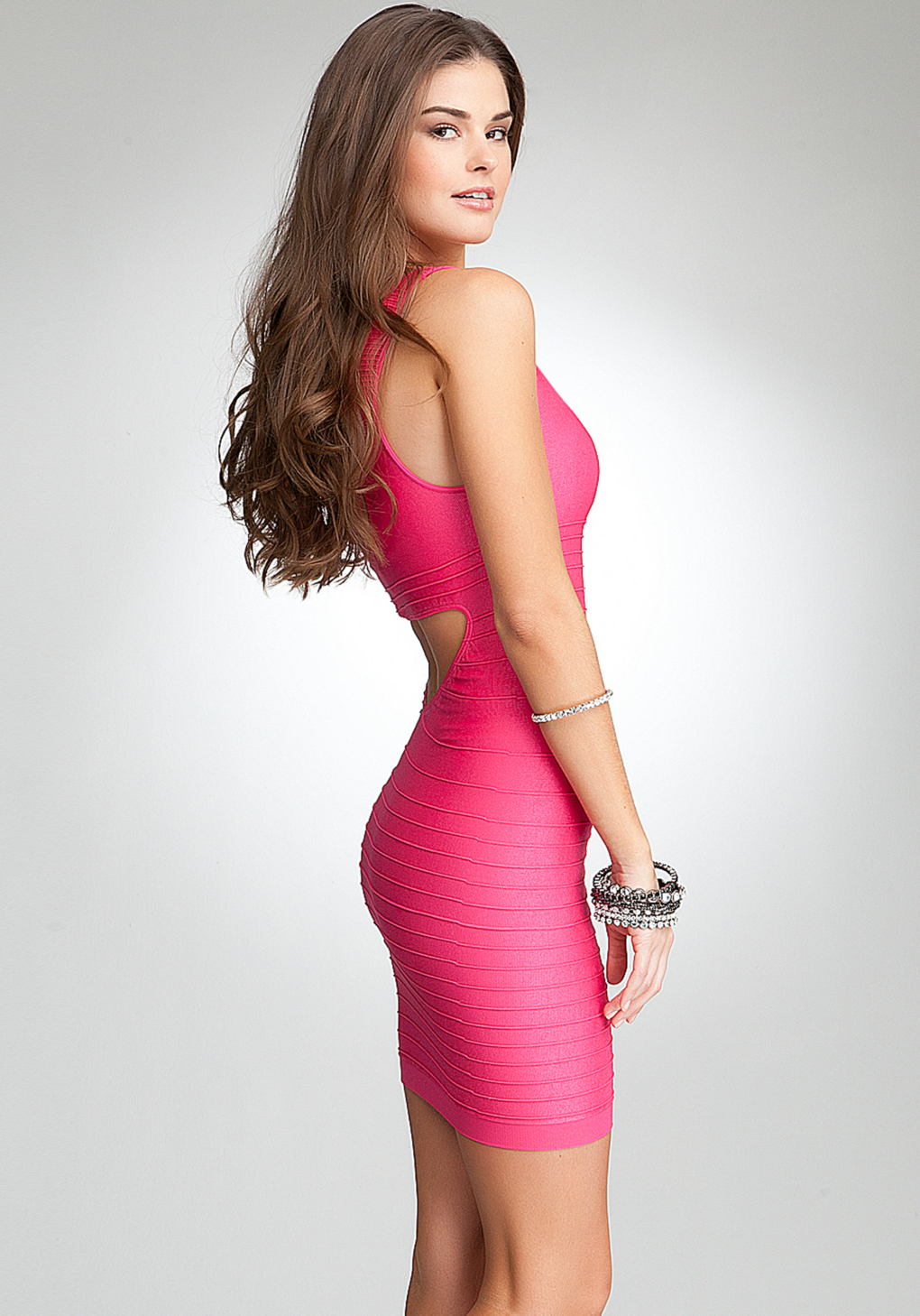 Lyst Bebe Back Cutout Shine Bodycon Dress In Pink