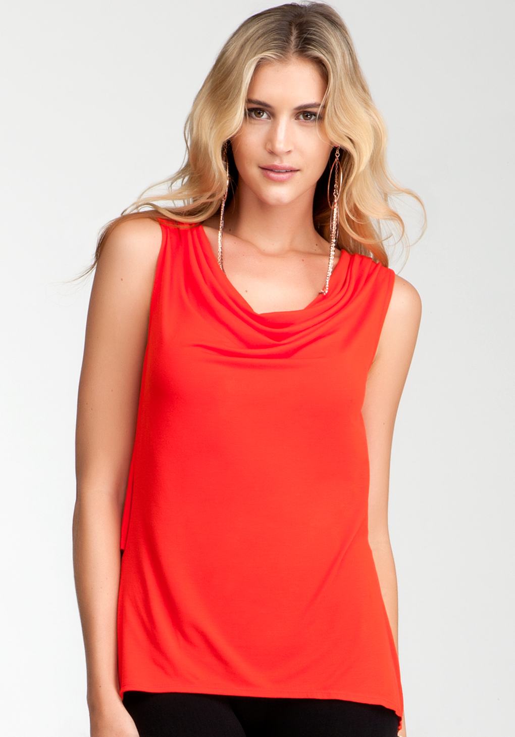 2257f2d79e2a9 Lyst - Bebe Cowl Neck Two Layer Tank in Red