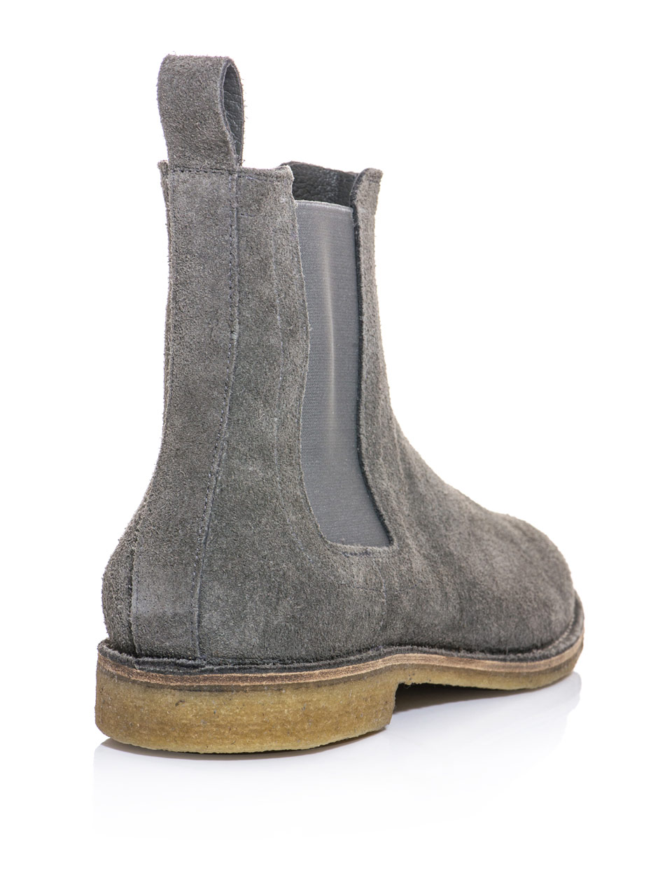 bottega veneta suede chelsea boots in gray for lyst