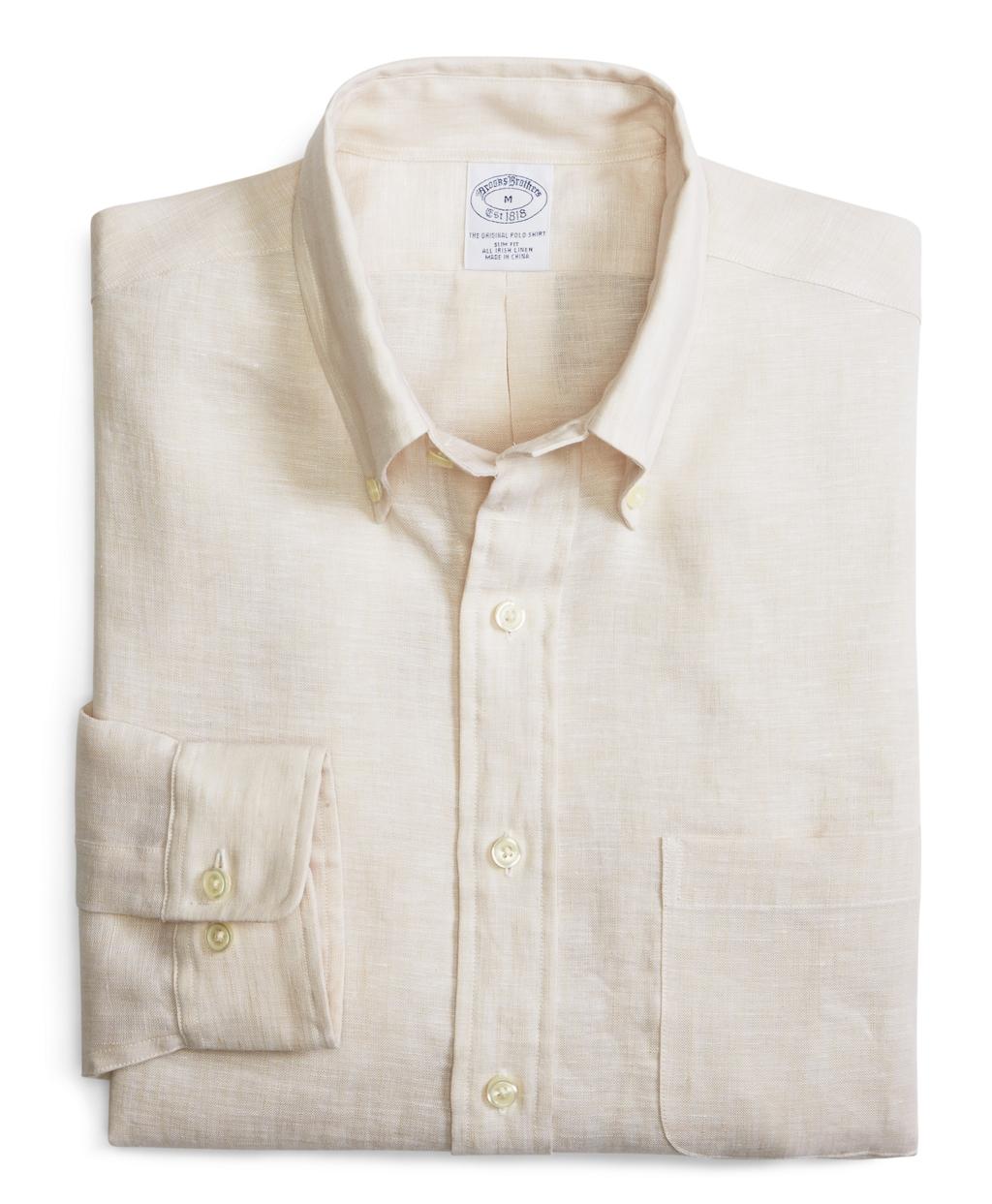 Brooks brothers beige irish linen slim fit solid sport for Irish linen dress shirts