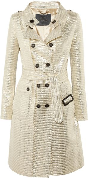 Burberry Prorsum Metallic Jacquard Trench Coat - Lyst