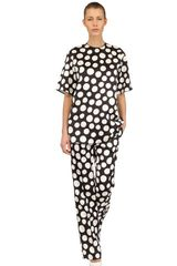 Celine Polka Dot Print Silk Wool Twill Top - Lyst