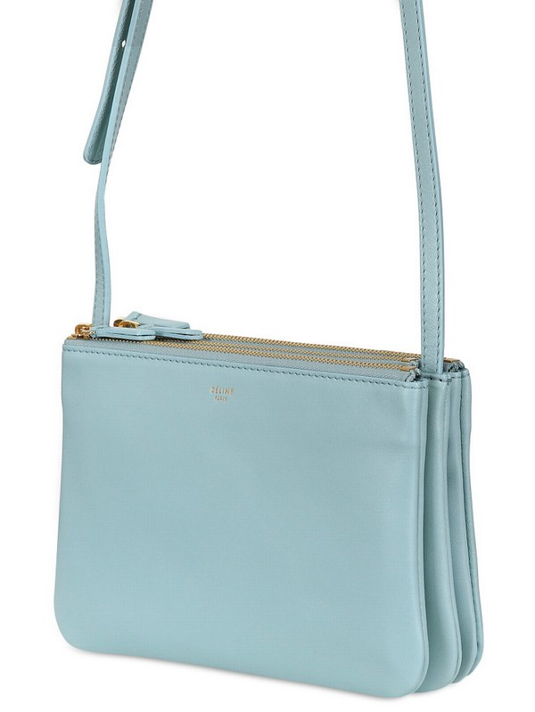 C¨¦line Trio Cabas Solo Leather Shoulder Bag in Blue | Lyst