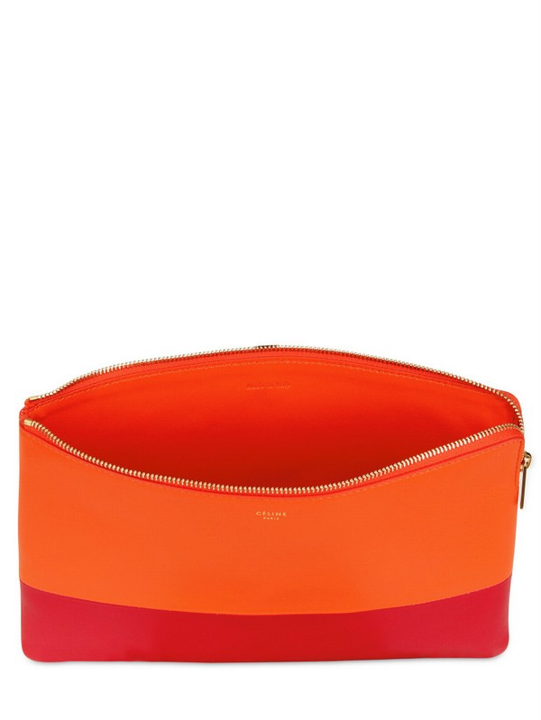 C¨¦line Bicolored Solo Pouch Leather Clutch in Red (orange/magenta ...