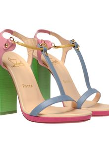 Christian Louboutin Sylvieta Pastel Leather and Snake Chain Sandals - Lyst