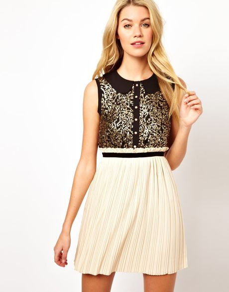 sequin top dress with pleated skirt in black