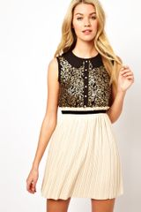 Darling Sequin Top Dress with Pleated Skirt - Lyst