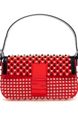 Fendi Baguette Studded Neoprene Shoulder Bag - Lyst