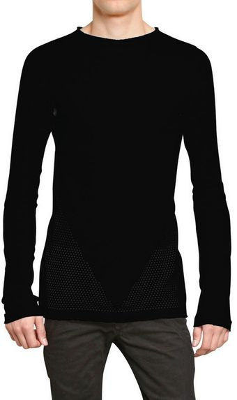Gareth Pugh Perforated Cotton Round Neck Sweater - Lyst