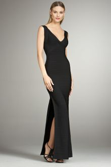 Hervé Léger Sleeveless Bandage Maxi Dress with Slit - Lyst