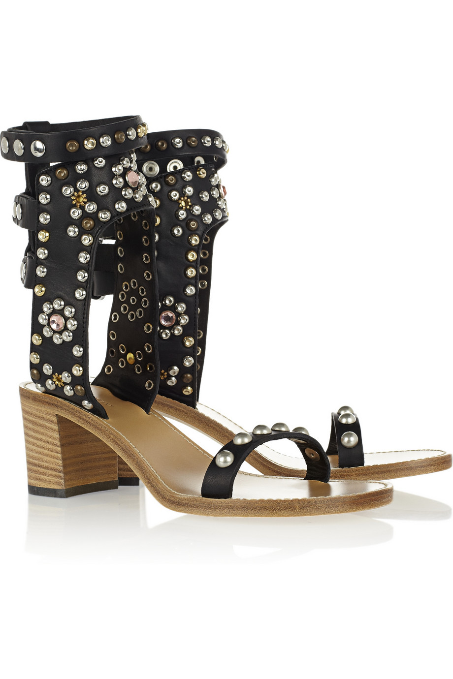 Lyst Isabel Marant Carol Studded Leather Sandals In Black