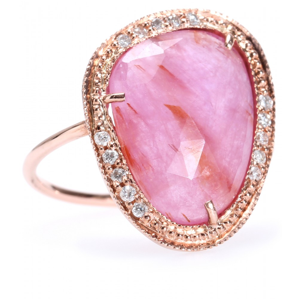Lyst - Jacquie Aiche 14kt Rose Gold Partial White Diamond Glass Ruby ...