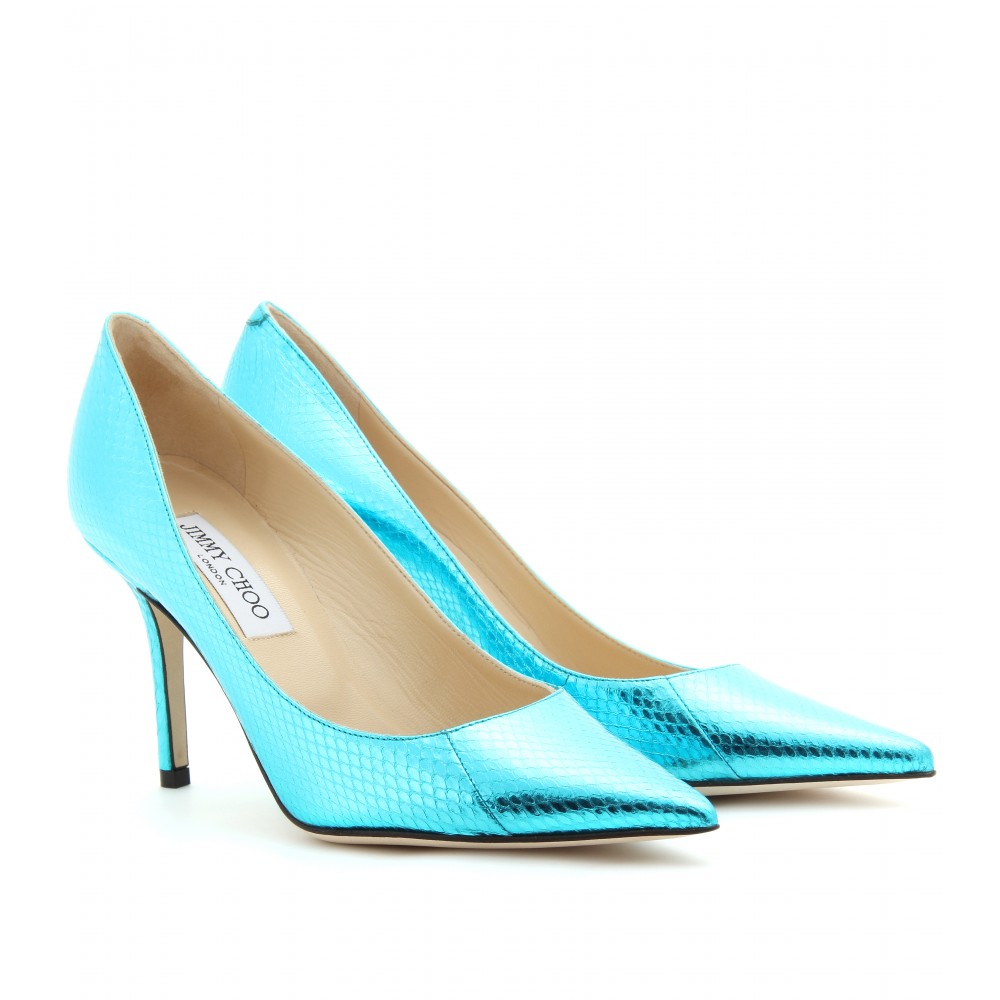 4a423fcd57c6 Shoeniverse  JIMMY CHOO Blue Agnes Metallic Snake Skin Pumps