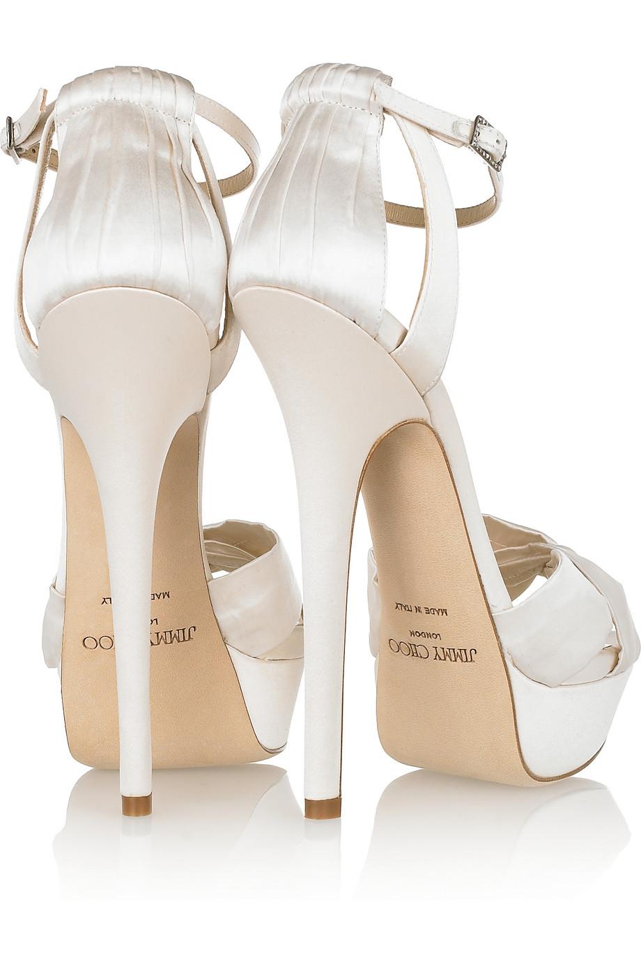 2ac7e2ee92b Lyst - Jimmy Choo Fairy Satin Platform Sandals in White