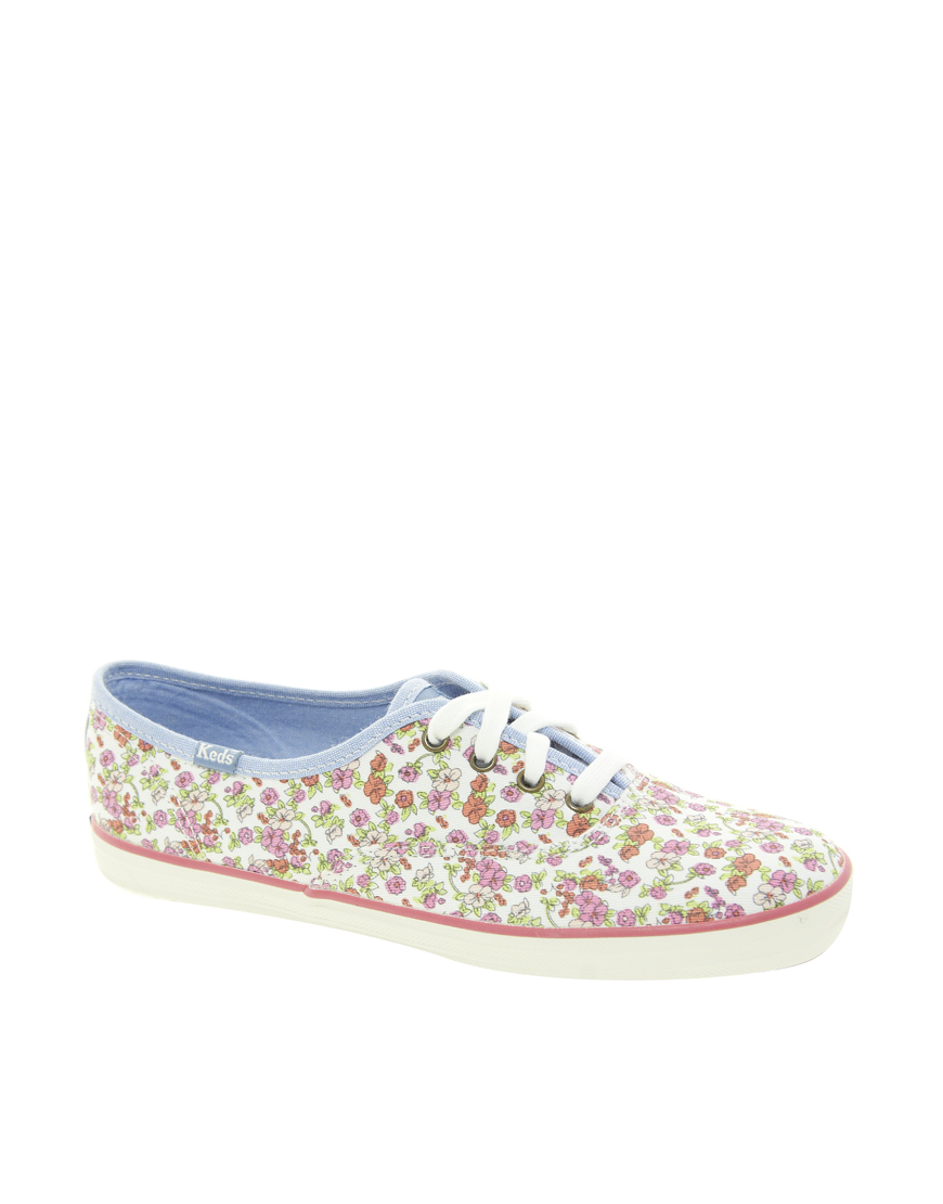 white floral keds