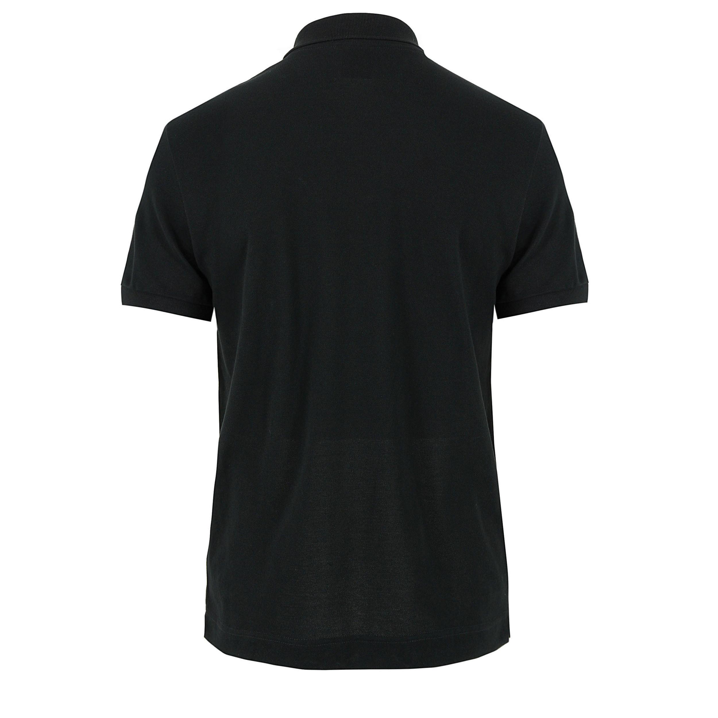 Lacoste l!ive Plain Black Ethnic Croc Polo Shirt in Black ...