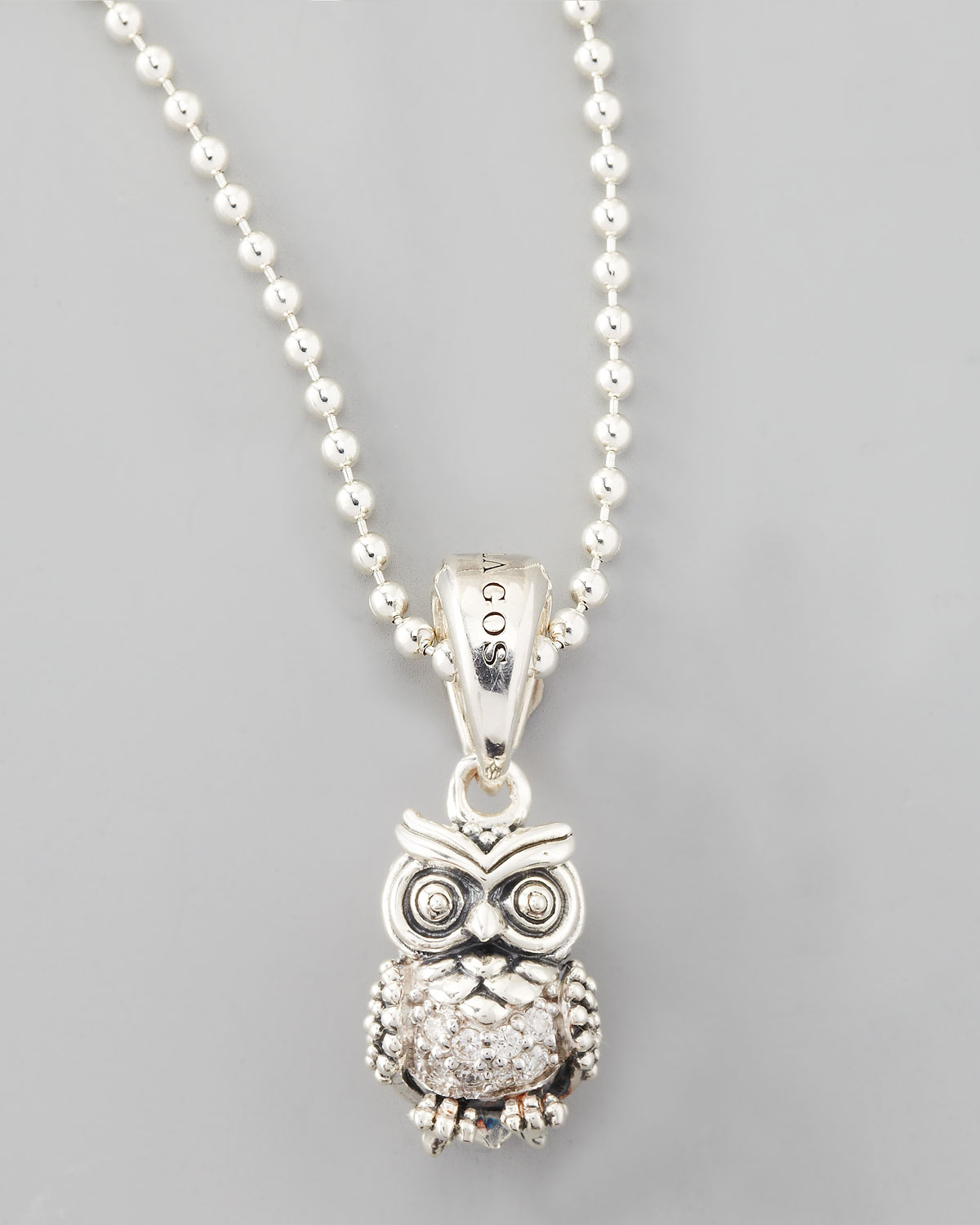 Lyst lagos rare wonders diamond owl pendant necklace in metallic gallery aloadofball Image collections